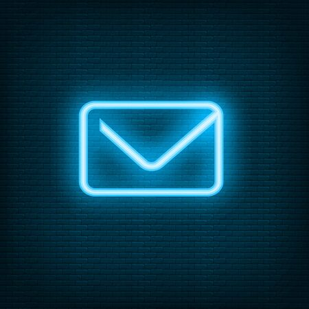 Chat Neon blue email envelope letter mail. Vector