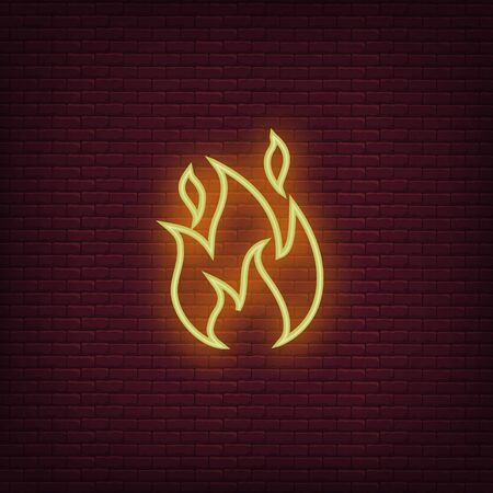 Fire neon icon. Flame sign icon. Vector