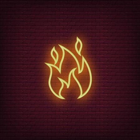 Fire neon icon. Flame sign icon. Vector 版權商用圖片 - 128984005