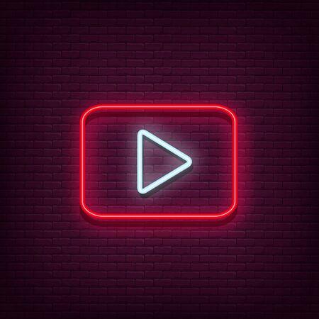 Neon spelen vector logo. Afspeelknop