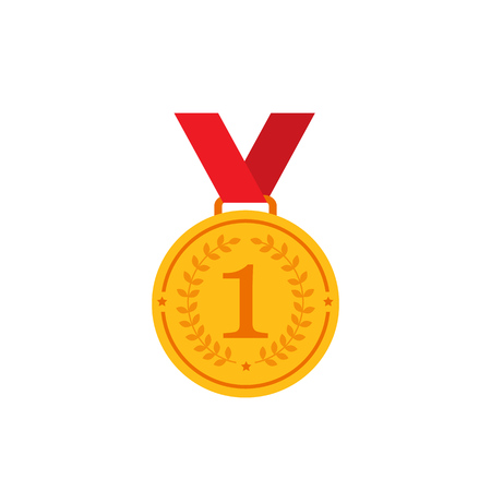 Gold medal with red ribbon flat vector icons for sports apps and websites
