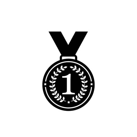 Medal with  ribbon flat vector icons for sports apps and websites