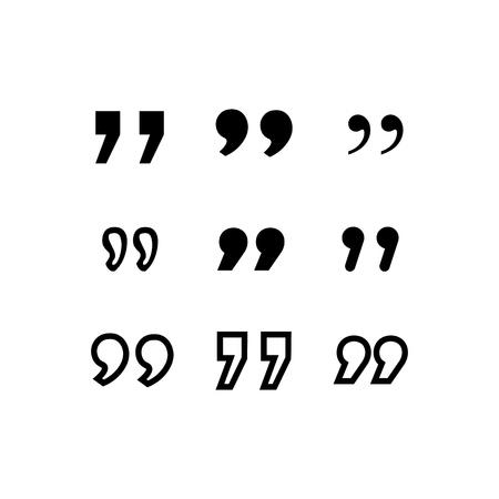 Icône de citation. Symbole de paragraphe de citation. double virgule. signe de discours de dialogue de bulle. Illustration vectorielle