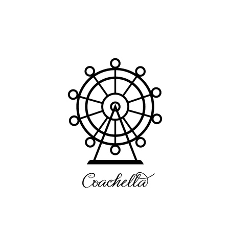 Ferris wheel symbol Coachella icon. Vector
