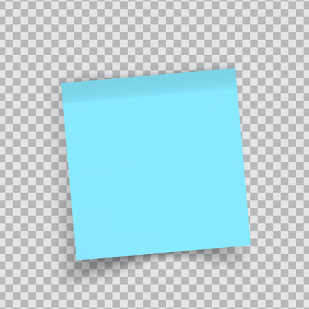 Blue sticker paper. Note paper with curled corner. Vector isolated on transparent background