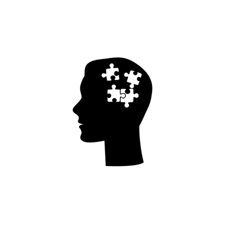 Human had flat icon with puzzle inside. Vector illustration