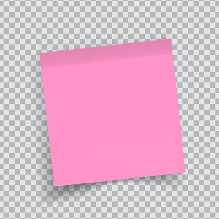 Pink sticker paper. Note paper with curled corner. Vector isolated on transparent background