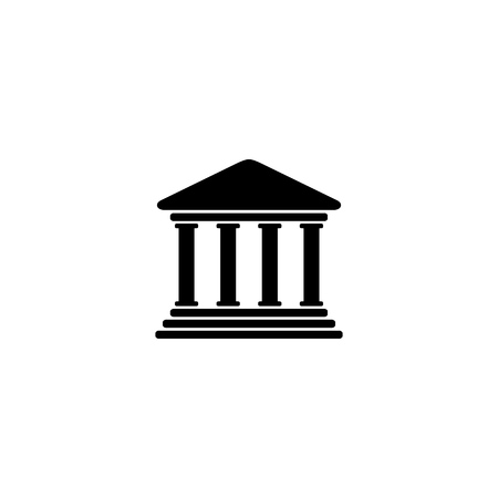 Bank icon symbol on white background.  Vector illustration