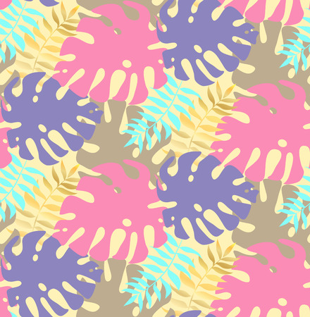 Palm Leaf Seamless Background. Monstera leaf vector pattern