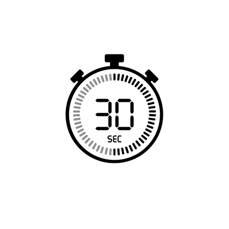 The 30 seconds, stopwatch vector icon, digital timer. Clock and watch, timer, countdown symbol Stock Vector - 122530839