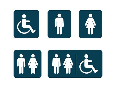 Washroom symbols collection. Male washroom sign. Female washroom sign. Vector illustration Vectores
