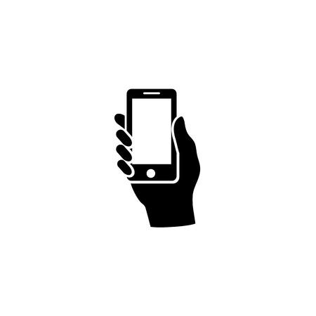 Tenere in mano lo smartphone. Vettore
