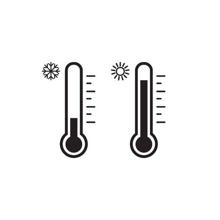 Thermometer icon set. Hot and cold weather. Vector. Isolated Иллюстрация