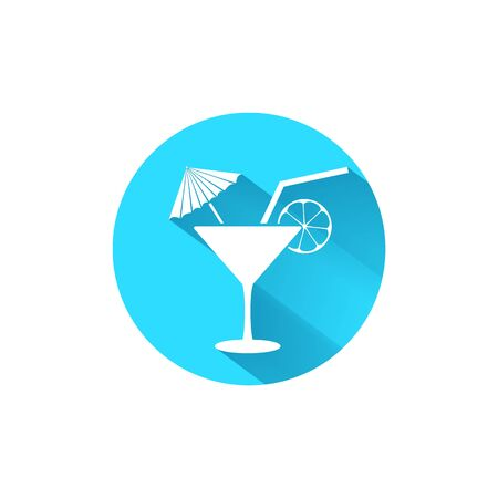 Cocktail blue icon template. Flat style. Vector illustration 일러스트