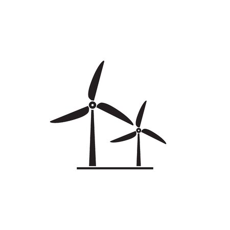 Wind turbine icon. Flat design style. Windmill silhouette. Vector illustration
