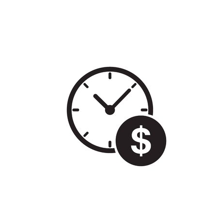 Business and finance management icon in flat style. Time is money vector illustration on white background. Financial strategy business concept