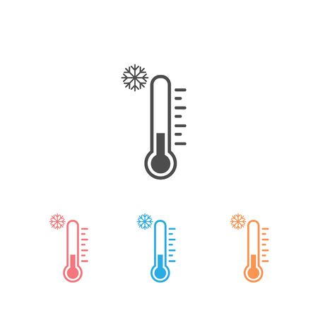 Cold weather thermometer icon set vector illustration on white background. Flat web design element for website, app or infographics materials