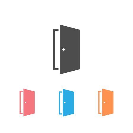 Door vector icon set on white