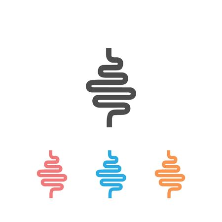 Intestinal tract set icon on white. Vector