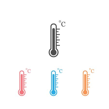 Thermometer vector icon set on white