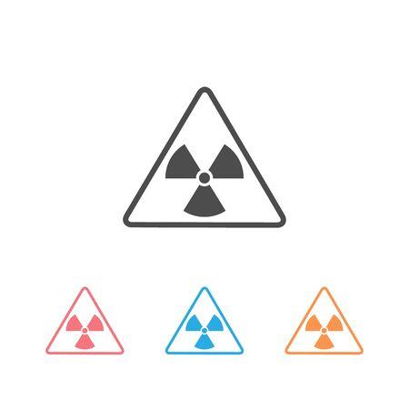 Vector illustration toxic sign, symbol. Warning radioactive zone in triangle icon set isolated on white background. Radioactivity. Dangerous radiation area symbol. Chemistry poison plane mark