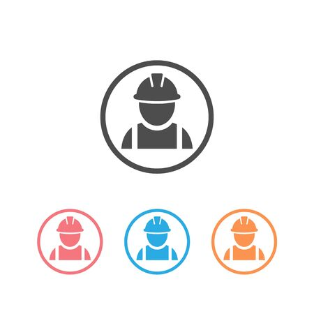 Construction worker set icon on white Banque d'images