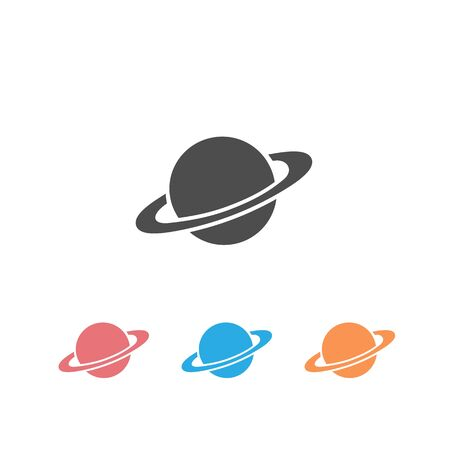 Saturn icon set in flat style. Planet vector illustration on white isolated background. Galaxy space business concept