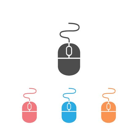Computer mouse Icon set in trendy flat style isolated on white background, for your web site design, app, UI. Vector illustration Ilustración de vector