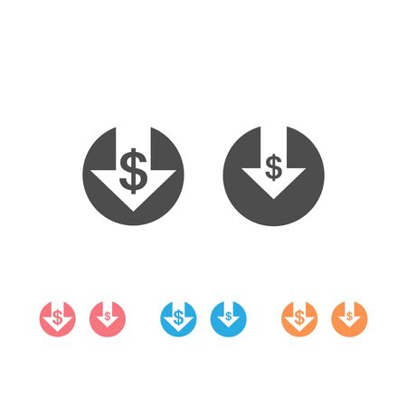 Cost reduction icon set isolated on white background. Vector illustration Stock Illustratie