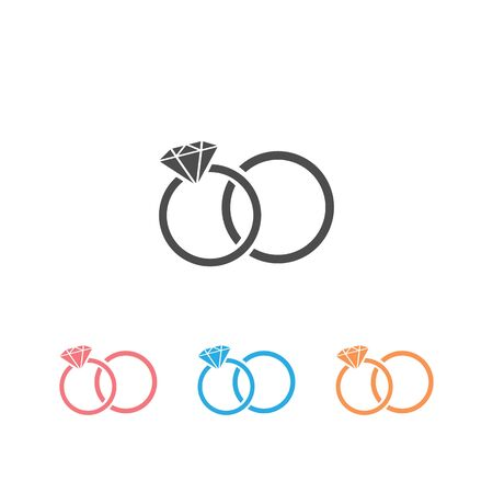 Rings icon set on white, vector illustration