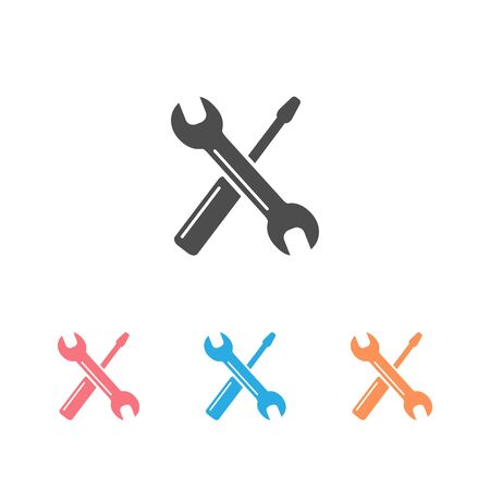 Screwdriver with key icon set symbol. Premium quality isolated equipment element in trendy style. Vector