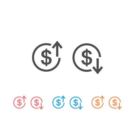 Up and Down arrows with dollar sign in flat icon set design on white color background. Vector