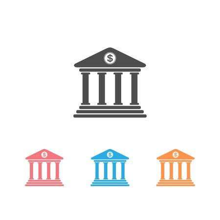 Bank icon set symbol on white background. Vector