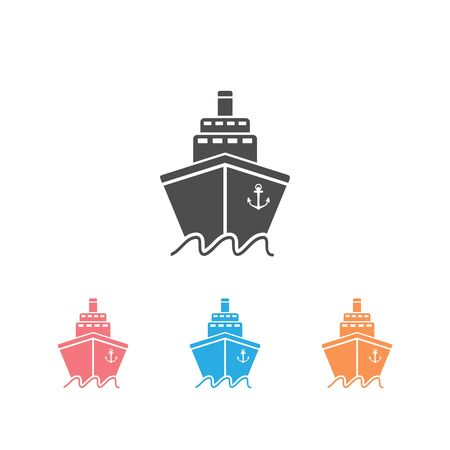 Ship icon set flat. Pictogram on grey background. Vector illustration symbol