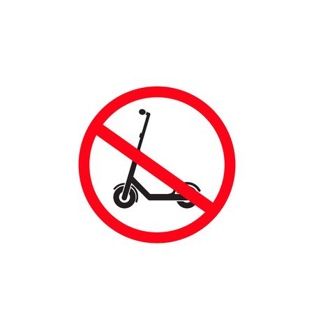 No scooter prohibition sign, Electric Scooter Icon, Vector illustration isolated on white Background Vectores
