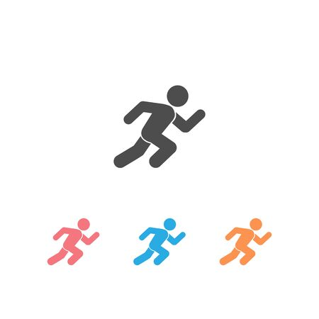 Running man, athletics, marathon, summer sport, run icon set isolated on white background. Vector