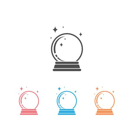 Crystal Ball Magic Icon Set Vector Template