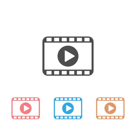Play video modern icon set strip vector isolated on white background