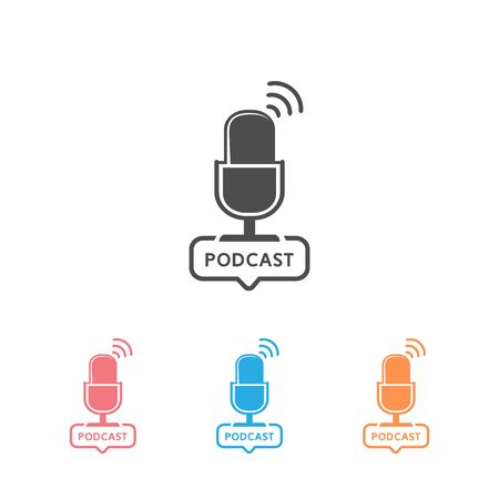 Podcast radio icon set illustration. Studio table microphone with broadcast text podcast.