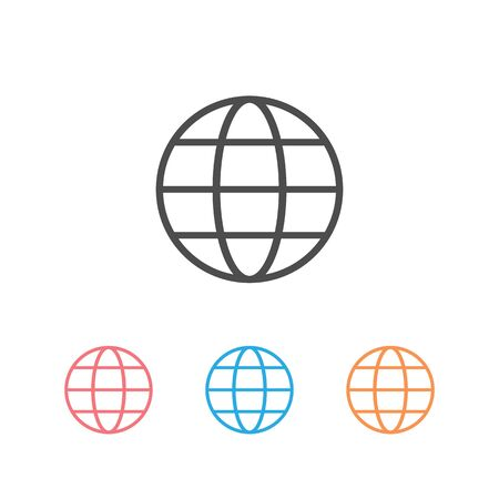 Globe Icon set in trendy flat style isolated on white background. World globe symbol for your web site design, app, UI. Vector illustration 向量圖像