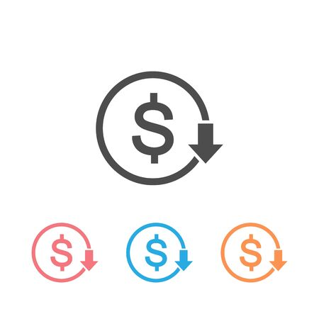 Cost reduction icon set. Dollar Down Icon vector