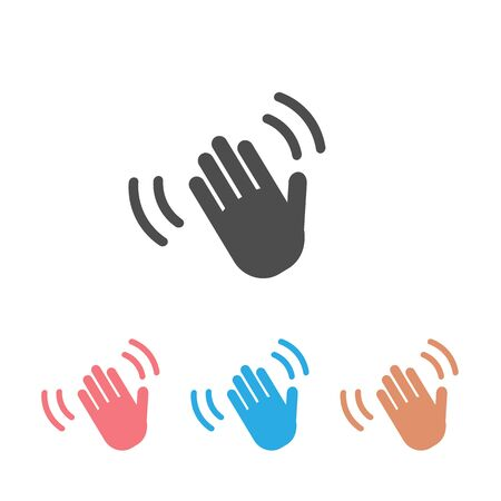 Hand wave waving hi or hello gesture line art vector icon set for apps and websites