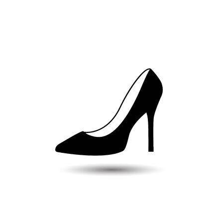Illustration vectorielle monochrome d'une icône de chaussure pour femme, isolée sur fond blanc