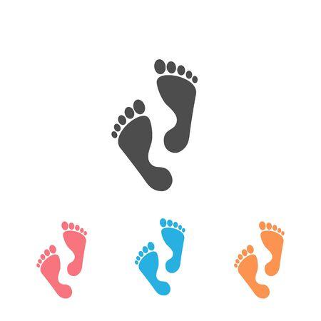 Foot step icon set. Vector illustration