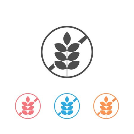 Gluten Free Food Allergy Product Dietary Label Flat Vector Icon set for Apps and Websites Vector