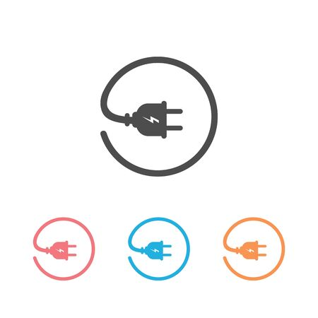 Plug vector icon set, electric symbol. Simple, flat design for web or mobile app
