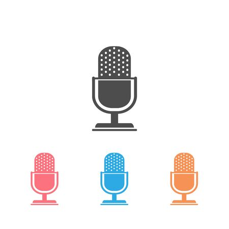 Retro microphone vector icon set isolated on white background Vettoriali