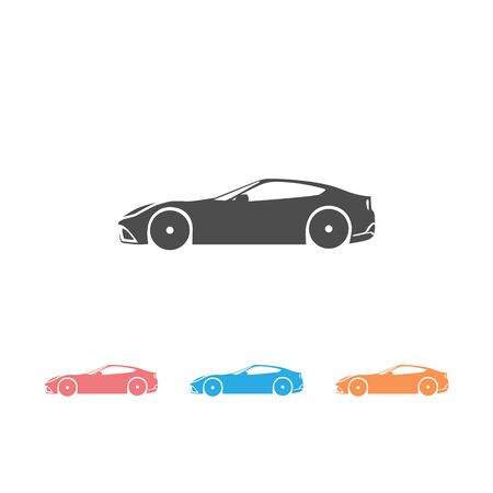Simple floating sports car icon set viewed from the side colored in flat black with detailed rims