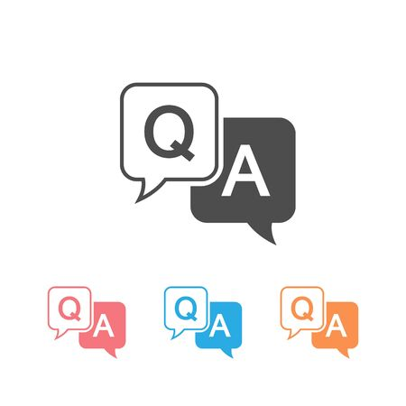 Question and answer icon set in flat style. Discussion speech bubble vector illustration on white background. Question, answer business concept