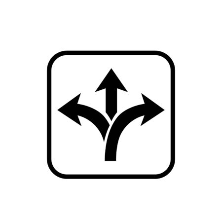 Three way direction arrow in flat style. Vector illustration. Road direction icon isolated